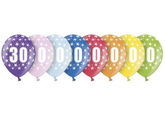 Balony 30 Lat Urodziny Rocznica Opakowanie 6 Sztuk 993