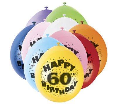 Balony Urodzinowe 60 Lat Mix Kolorów 10sztop 1545 Dekoracje